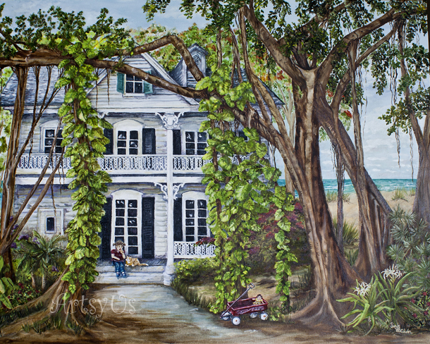 Banyan Beach House Print